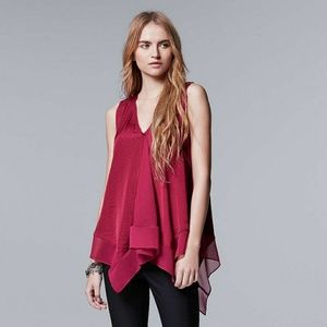 RED Simply Vera Wang Handkerchief Top V-Day Silk S